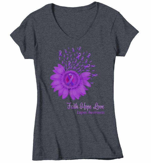 Women's V-Neck Lupus Shirt Sunflower Shirt Lupus Flower Shirt Faith Hope Love Shirts Lupus Awareness Purple TShirt-Shirts By Sarah