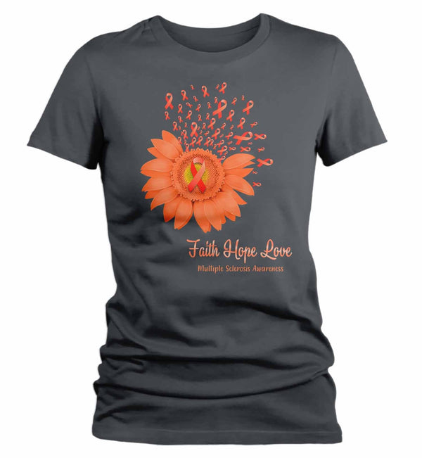 Women's Multiple Sclerosis Shirt Sunflower Shirt MS Flower Shirt Faith Hope Love Shirts MS Awareness Orange TShirt-Shirts By Sarah