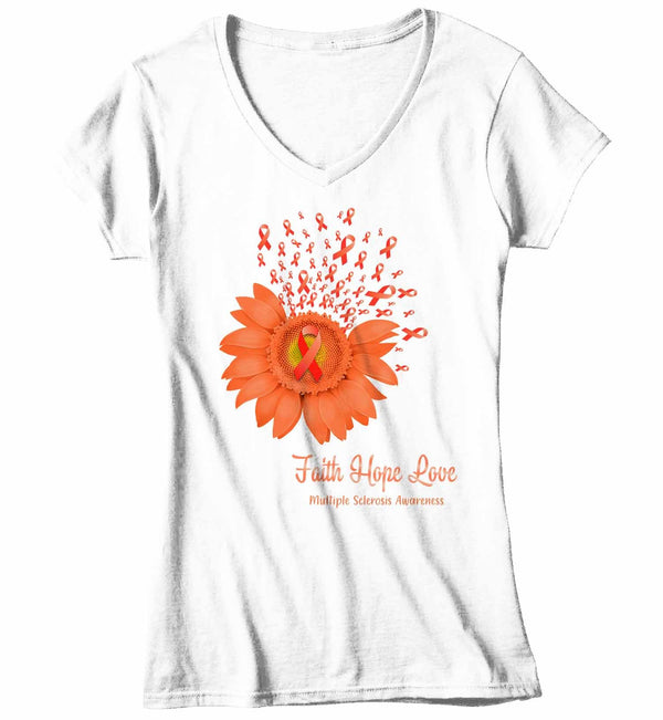 Women's V-Neck Multiple Sclerosis Shirt Sunflower Shirt MS Flower Shirt Faith Hope Love Shirts MS Awareness Orange TShirt-Shirts By Sarah