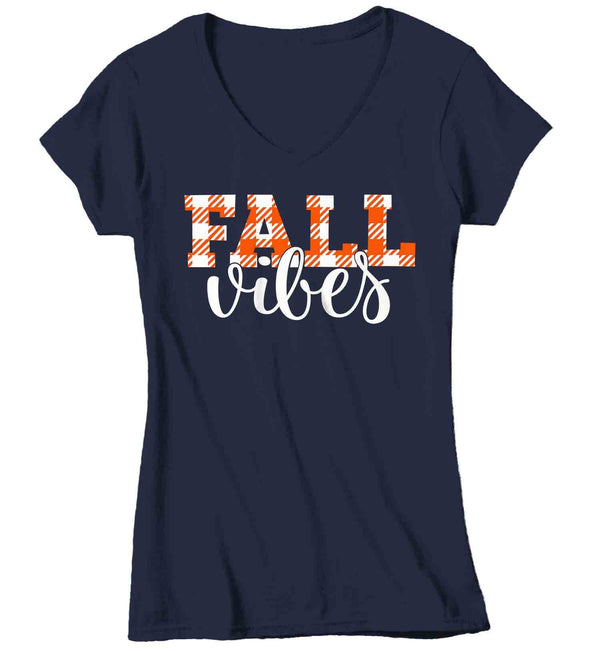 Women's Fall Vibes T Shirt Fall Shirts Fall Vibes Shirt Plaid Festive Fall Shirt Cute Shirt For Fall Fall Shirt Woman-Shirts By Sarah