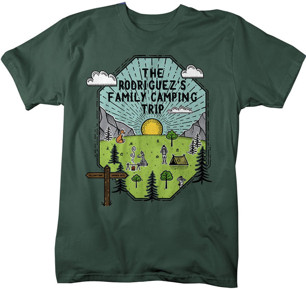 Men's Personalized Camping T Shirt Family Shirt Custom Graphic Tee Adventure Line Art Illustrated Shirts-Shirts By Sarah