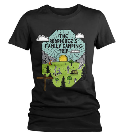 Women's Personalized Camping T Shirt Family Shirt Custom Graphic Tee Adventure Line Art Illustrated Shirts-Shirts By Sarah