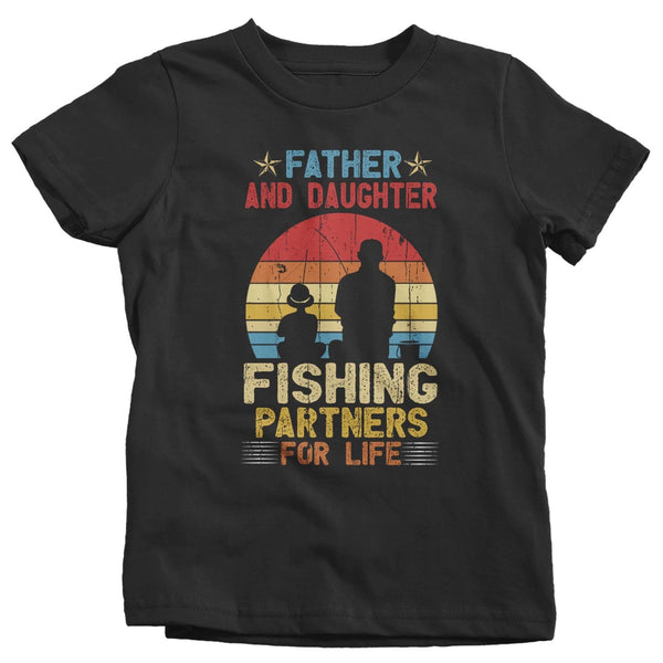 Kids Fishing T Shirts Matching Father Daughter Fishing Partners For Life Shirts Father's Day Gift Idea Vintage Best Friends Shirt-Shirts By Sarah