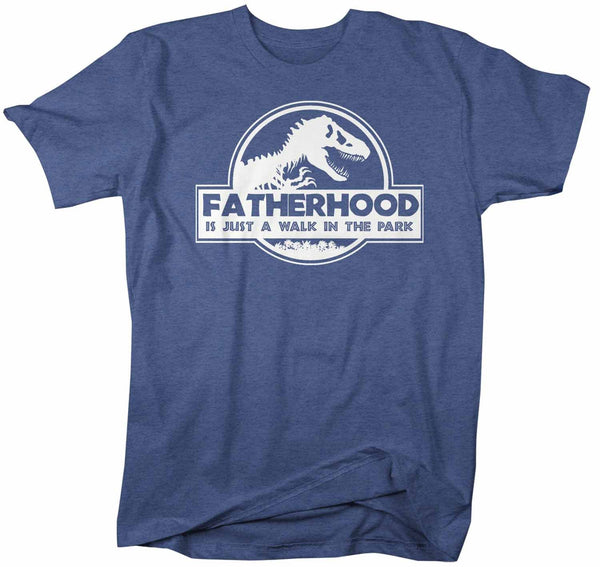 Men's Funny Dad T Shirt Father's Day Gift Fatherhood Walk In The Park Shirt Dinosaur Shirt T Rex Shirt-Shirts By Sarah