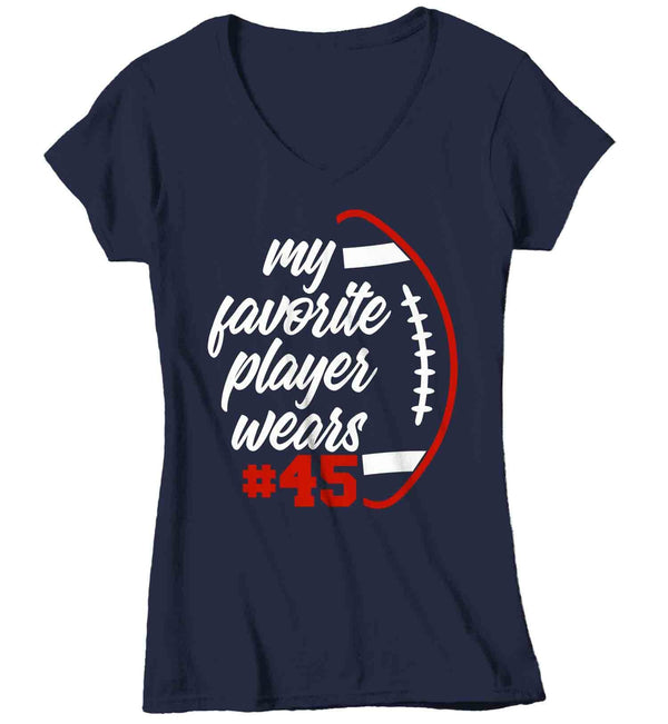 Women's Personalized Football T Shirt Favorite Player Shirt Custom Football Shirts Football Mom T Shirt Personalized Shirts-Shirts By Sarah
