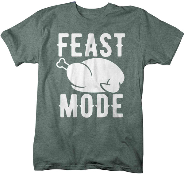 Men's Funny Thanksgiving T Shirt Feast Mode Shirt Turkey T Shirt Thanksgiving Shirts Feast Shirt-Shirts By Sarah
