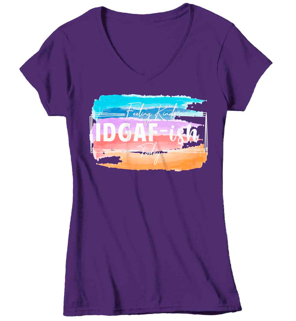 Women's V-Neck Funny IDGAF-ish Shirt Feeling Kinda T Shirt Funny Current Mood Hipster Shirt IDGAD Gift Idea Ladies V-Neck Graphic Tee-Shirts By Sarah