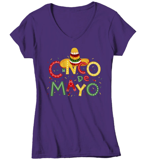 Women's V-Neck Cinco De Mayo T Shirt Cinco De Mayo Shirt Cute Cinco De Mayo Tee-Shirts By Sarah