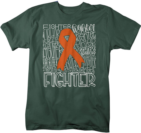Men's Orange Awareness T Shirt Fighter Shirts Orange Ribbon Awareness TShirt Typography Shirt-Shirts By Sarah