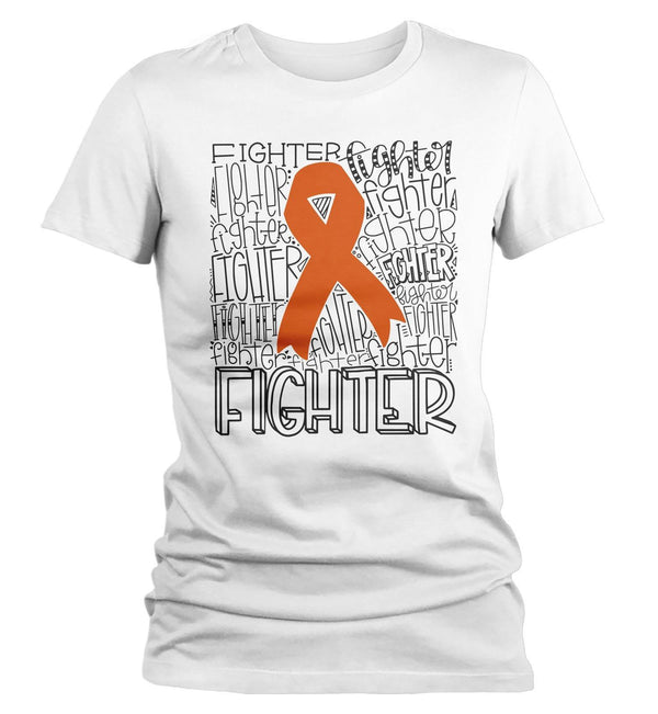 Women's Orange Awareness T Shirt Fighter Shirts Orange Ribbon Awareness TShirt Typography Shirt-Shirts By Sarah
