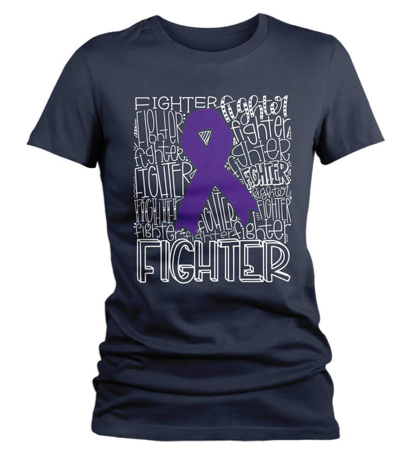 Women's Purple Awareness T Shirt Figther Shirts Purple Ribbon Awareness TShirt Typography Shirt-Shirts By Sarah