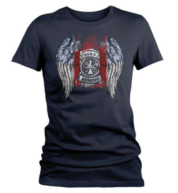 Women's Firefighter Shirt Cool Angel Wings T Shirt Blessed Gift Idea Fallen Fireman First Responder Gift U.S. Flag Tee Ladies VNeck-Shirts By Sarah