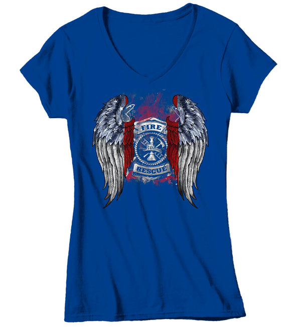 Women's V-Neck Firefighter Shirt Cool Angel Wings T Shirt Blessed Gift Idea Fallen Fireman First Responder Gift U.S. Flag Tee Ladies VNeck-Shirts By Sarah