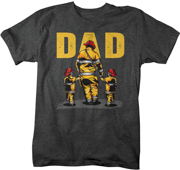 Men's Firefighter Dad Shirt Fire Fighter T Shirt Fireman Gift Idea Firefighter Gift Father's Day Tee Unisex Man Man's Soft Tee-Shirts By Sarah