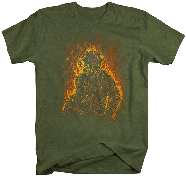 Men's Firefighter Shirt Cool Firefighter T Shirt Gift Idea Flames Graphic Tee Fireman Gift U.S. Flag Tee Unisex Man-Shirts By Sarah