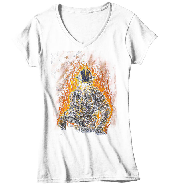 Women's V-Neck Firefighter Shirt Cool Firefighter T Shirt Gift Idea Flames Graphic Tee Firewoman Gift U.S. Flag Tee Ladies V Neck-Shirts By Sarah