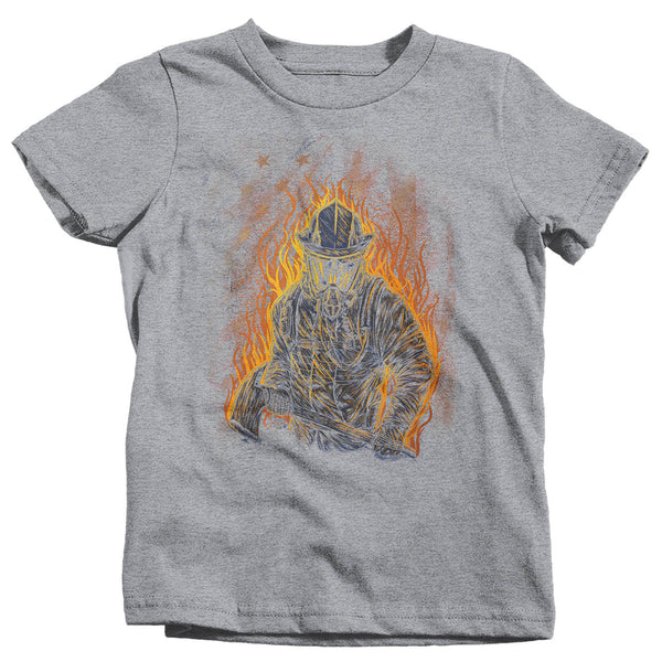 Kids Firefighter Shirt Cool Firefighter T Shirt Gift Idea Flames Graphic Tee Fireman Gift U.S. Flag Tee Boy's Girl's Youth-Shirts By Sarah
