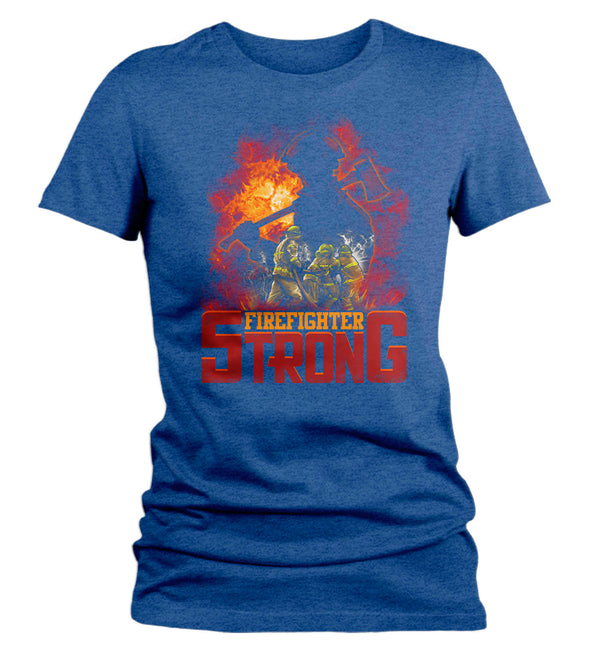 Women's Firefighter Shirt Firefighter Strong T Shirt Fireman Gift Idea Firefighter Gift Mother's Day Tee Ladies V Neck Soft Tee-Shirts By Sarah