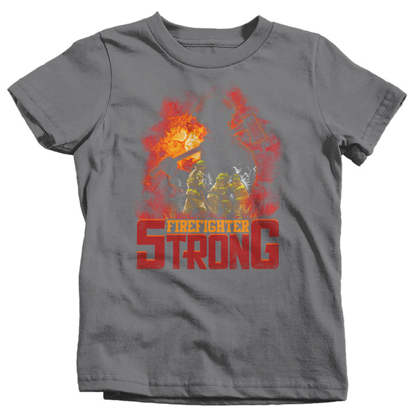 Kids Firefighter Shirt Firefighter Strong T Shirt Fireman Gift Idea Firefighter Gift Father's Day Tee Boy's Girl's Youth Soft Tee-Shirts By Sarah