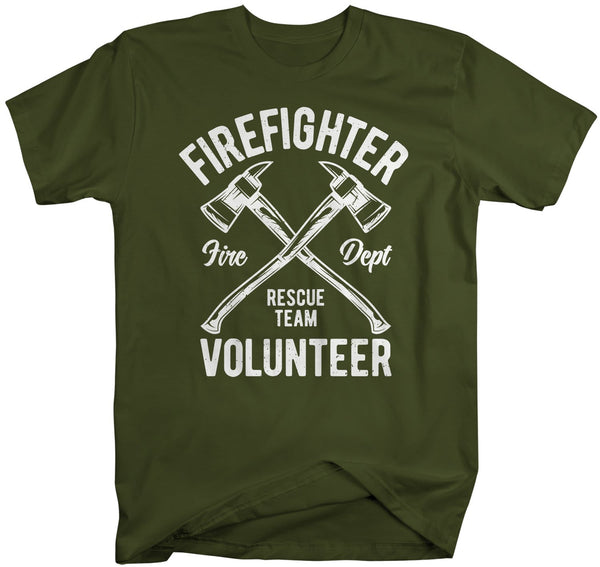 Men's Firefighter T Shirt Volunteer Firefighter Shirts Fire Rescue Shirt Fire Department Shirts Axe Shirt Gift-Shirts By Sarah