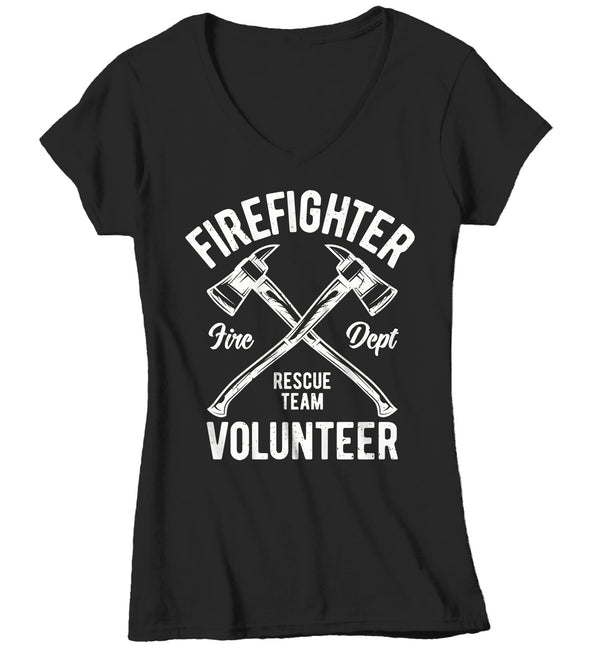 Women's Firefighter T Shirt Volunteer Firefighter Shirts Fire Rescue Shirt Fire Department Shirts Axe Shirt Gift-Shirts By Sarah