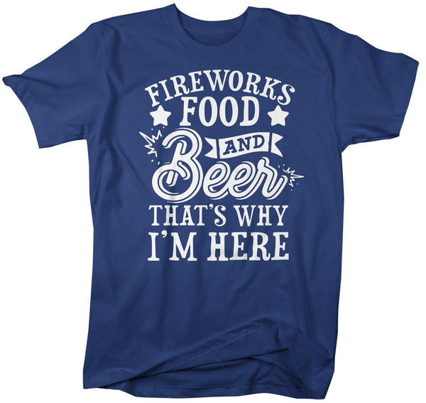 Men's Funny 4th July T-Shirt Fireworks Food Beer Shirt America Shirts Memorial Day Shirt Hipster-Shirts By Sarah