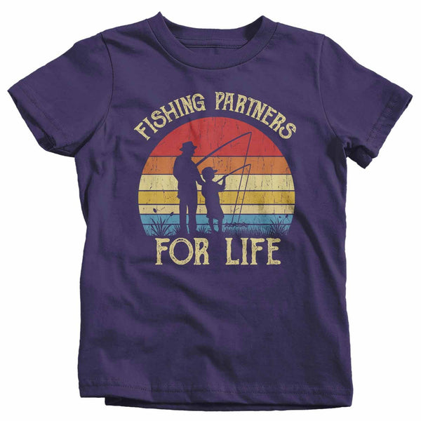 Kids Fishing T Shirts Matching Father Son Fishing Partners For Life Shirts Father's Day Gift Idea Vintage Best Friends Shirt-Shirts By Sarah