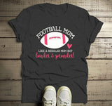 Men's Funny Football Mom T Shirt Like Normal Mom Louder Prouder Shirts Game Day TShirts-Shirts By Sarah