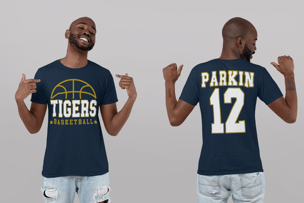 Men's Personalized Basketball T Shirt Custom Basketball Dad Shirt Personalized Basketball Rear Printed Custom Shirts-Shirts By Sarah