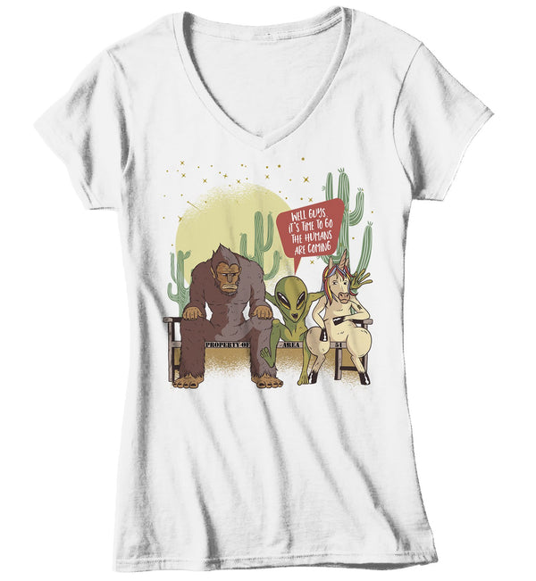 Women's Funny Area 51 T Shirt Bigfoot Shirts Alien Shirts Unicorn Shirt Time To Go T Shirt Graphic Funny Alien Shirt-Shirts By Sarah