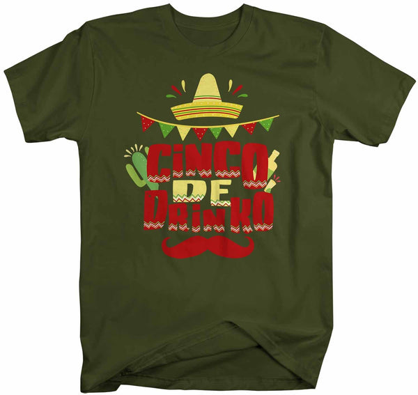 Men's Funny Cinco De Drinko T Shirt Cinco De Mayo Shirt Hipster Shirt Funny Mustache Drinking Shirt-Shirts By Sarah