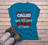 Men's Funny Football T Shirt Insulting Shirt Your Mom Called Left Game At Home Rude T Shirt-Shirts By Sarah