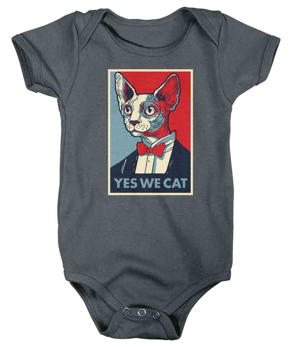 Baby Funny Cat Shirt Sphynx Bodysuit Hairless Cat Creeper Yes We Snap Suit Kitty Gift Cat Lover Political Yes We Cat Graphic Tee Infant-Shirts By Sarah