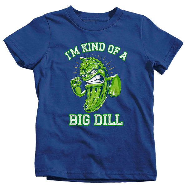 Kids Funny Pickle Shirt Big Dill T Shirt Food Pun Funny Food Hipster Shirt Kind Of A Big Deal Geek Gift Idea Boys Girls Graphic Tee-Shirts By Sarah