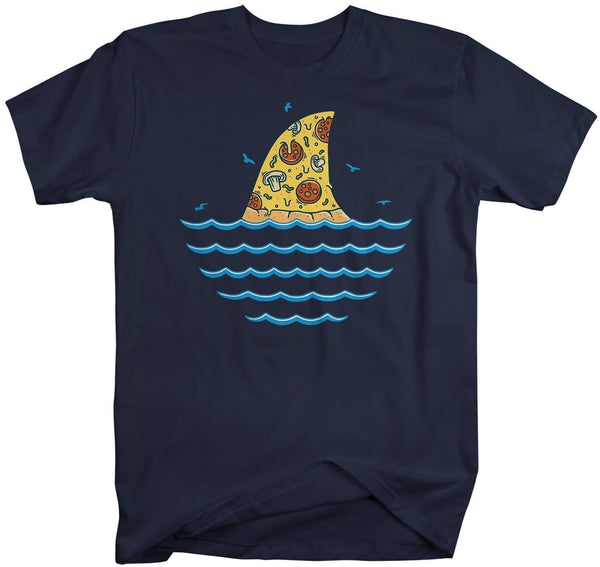 Men's Funny Shark T Shirt Pizza Shirts Funny Shark Shirt Shark Fin Pizza T Shirt Killer Pizza Shirts-Shirts By Sarah