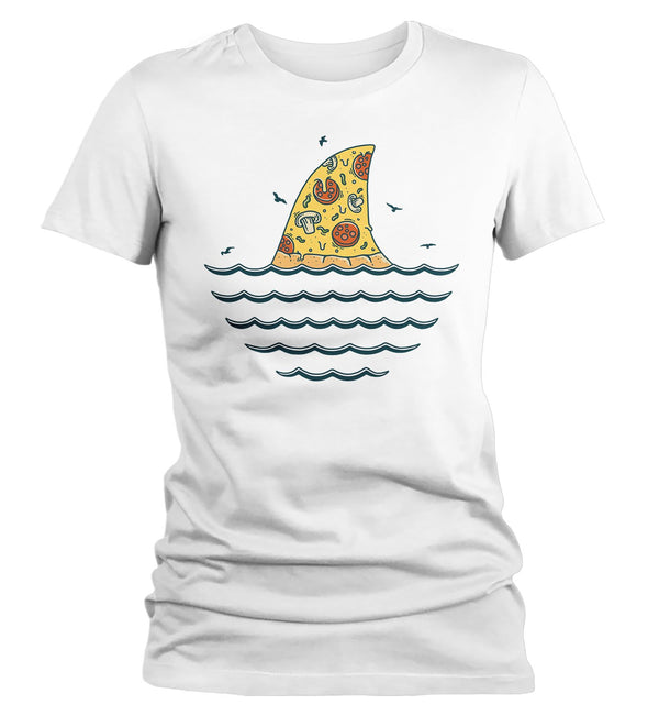 Women's Funny Shark T Shirt Pizza Shirts Funny Shark Shirt Shark Fin Pizza T Shirt Killer Pizza Shirts-Shirts By Sarah