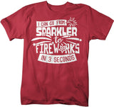 Men's Funny Fireworks T Shirt Sparkler To Fireworks 3 Seconds Shirt 4th July Graphic Tee Firework Shirts-Shirts By Sarah