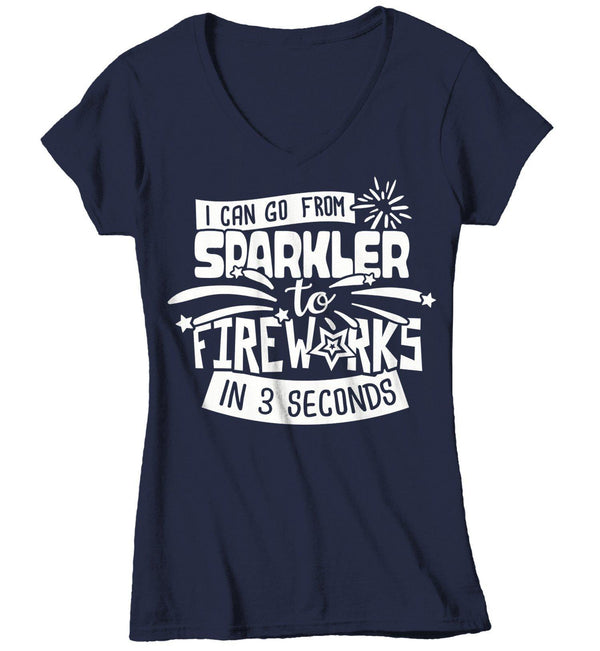 Women's Funny Fireworks T Shirt Sparkler To Fireworks 3 Seconds Shirt 4th July Graphic Tee Firework Shirts-Shirts By Sarah