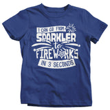 Kid's Funny Fireworks T Shirt Sparkler To Fireworks 3 Seconds Shirt 4th July Graphic Tee Toddler Tantrum Shirts-Shirts By Sarah