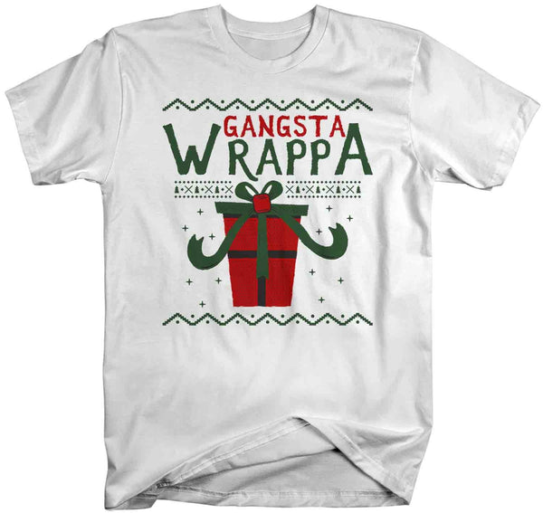 Men's Funny Christmas T Shirt Gangsta Wrappa Shirt Christmas Shirts Gangster Wrapper Shirt Present Shirt-Shirts By Sarah