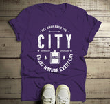 Men's Camping T Shirt Get Away From City Shirts Flask Enjoy Nature Tee-Shirts By Sarah