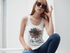 Women's America Sunflower Tank Top 4th July Shirt Boho America Tanks Memorial Day Shirt Patriotic Sunflower Top