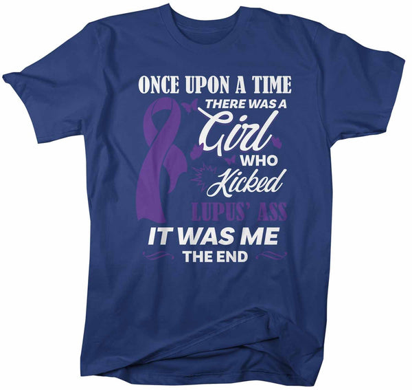Men's Lupus T Shirt This Girl Kicked Lupus Ass Shirt Funny Purple Ribbon T Shirt Inspirational Lupus Shirt-Shirts By Sarah