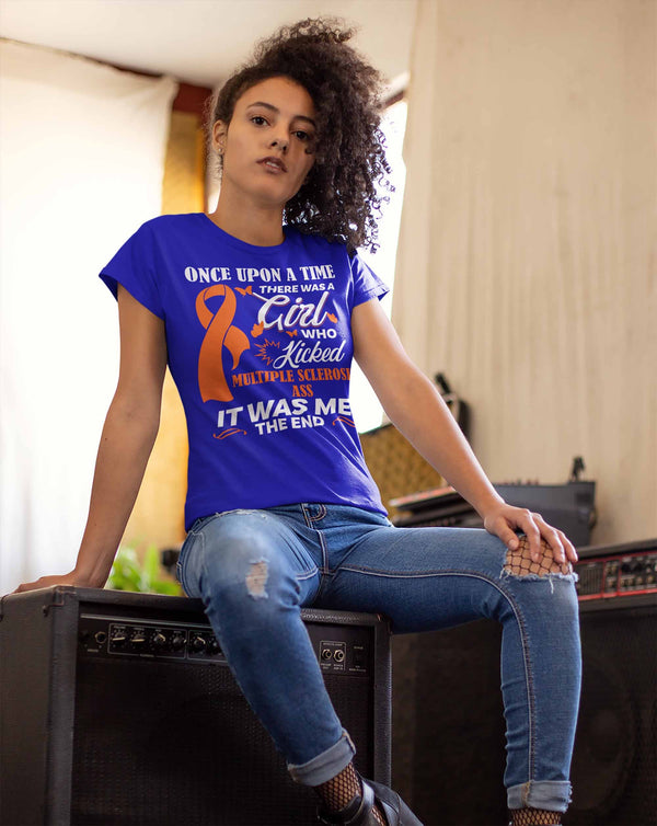 Women's Multiple Sclerosis T Shirt This Girl Kicked MS Ass Shirt Funny Orange Ribbon T Shirt Inspirational MS Shirt-Shirts By Sarah