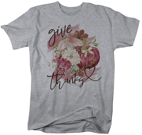 Men's Give Thanks T Shirt Fall Pumpkin Shirts Thanksgiving Graphic Tee Watercolor Pumpkins Thank-Shirts By Sarah