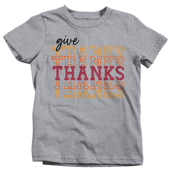 Kids Give Thanks T Shirt Thanksgiving Shirt Stacked Font Shirt Feathers Grateful Thankful Sporty Shirt Give Thanks Tee-Shirts By Sarah