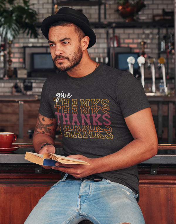Men's Give Thanks T Shirt Thanksgiving Shirt Stacked Font Shirt Feathers Grateful Thankful Sporty Shirt Give Thanks Tee-Shirts By Sarah