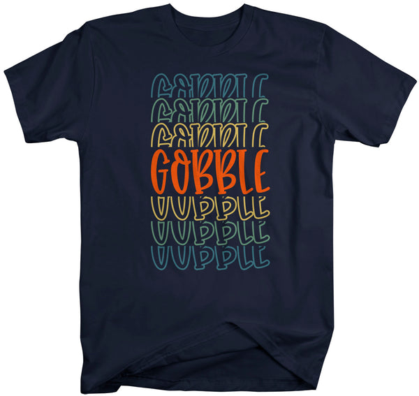 Men's Cute Thanksgiving T Shirt Gobble Shirt Fun Stacked Font Mirror Text Retro Tshirt Vintage Thanksgiving T-Shirt-Shirts By Sarah
