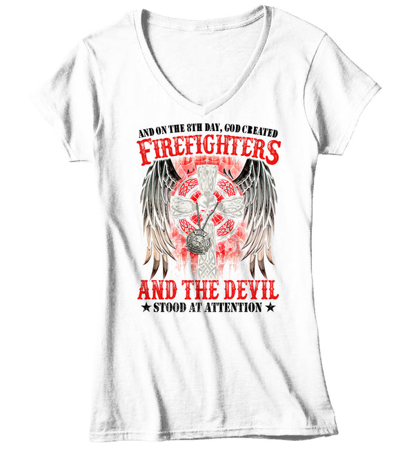 Women's V-Neck Firefighter Shirt 8th Day God Created T Shirt Fireman Gift Idea Firefighter Gift Father's Day Tee Ladies V-Neck-Shirts By Sarah