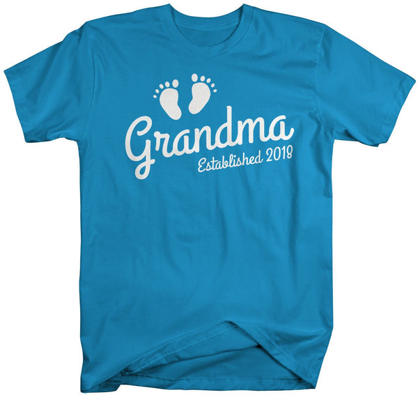 Shirts By Sarah Women's Grandma Established 2018 Unisex T-Shirt Baby Feet Cute Shirts-Shirts By Sarah